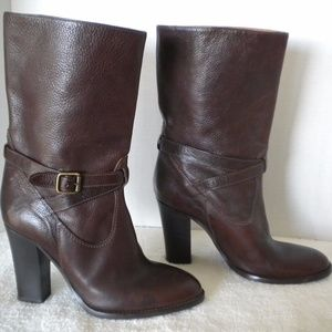 J Crew Brown Leather Heeled Mid Calf Boots Tenley